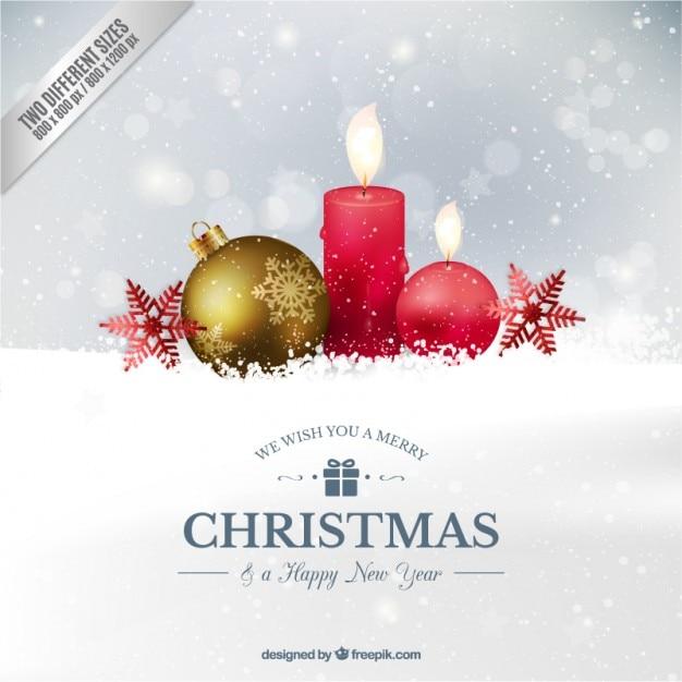 Realistische Weihnachtskugel und Kerzen Hintergrund Kostenlose Vektoren