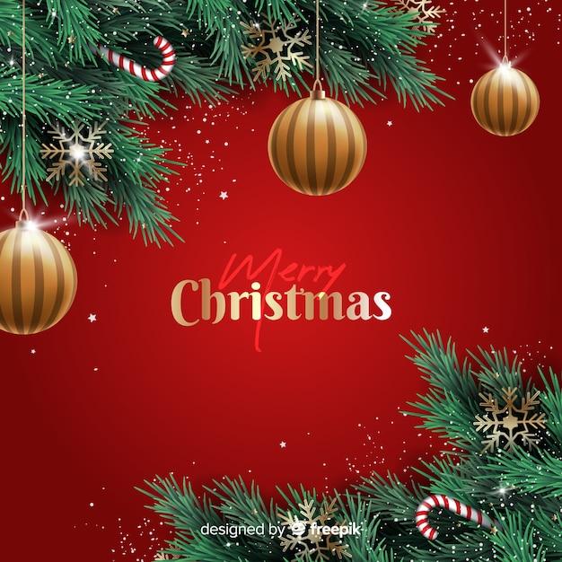 Realistische weihnachtskugel- und -süßigkeitsdekoration Kostenlosen Vektoren