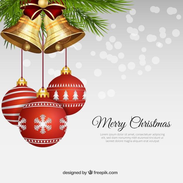 Realistische weihnachtskugeln mit glocken Kostenlosen Vektoren