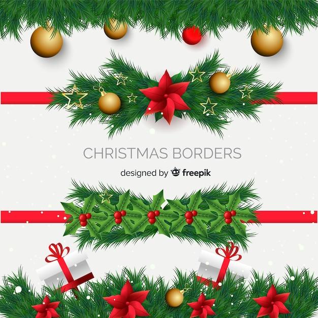 Realistische weihnachtsrahmensammlung Kostenlosen Vektoren