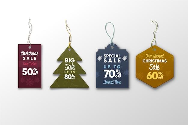Realistische weihnachtsverkaufs-tag-sammlung Kostenlosen Vektoren
