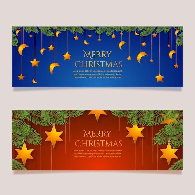 Realistische weihnachtsverkaufsfahnenschablone Kostenlosen Vektoren