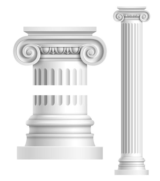Realistische weiße antike säule Premium Vektoren