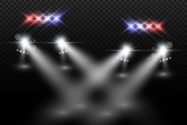 Realistische weiße leuchtende runde strahlen von autoscheinwerfern, isoliert. polizeiauto. licht von scheinwerfern. polizeistreife. Premium Vektoren