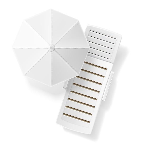 Realistische weiße sonnenschirm strandliege leere draufsicht. Premium Vektoren