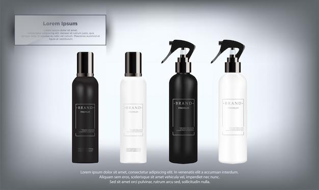 Realistische weiße und schwarze kosmetikflaschen eingestellt Premium Vektoren