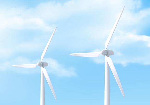 Realistische weiße windkraftanlage und blauer himmel Kostenlosen Vektoren