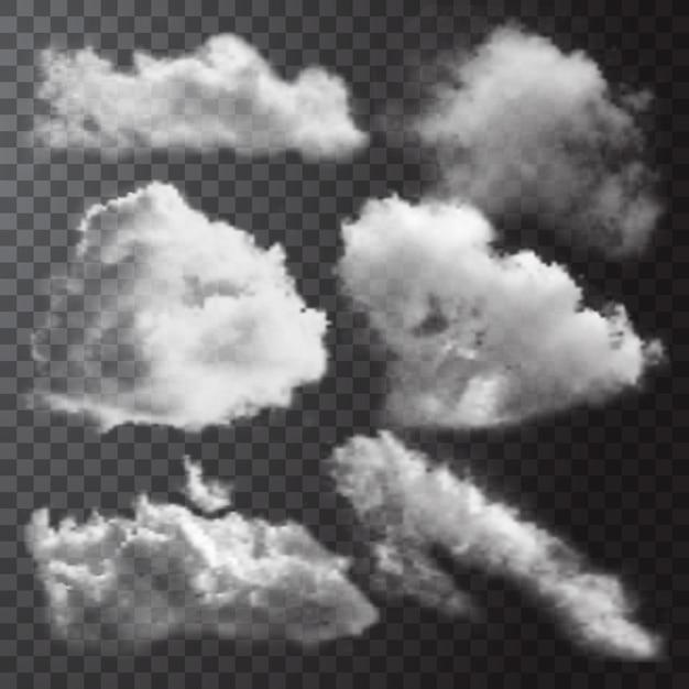 Realistische weiße wolken symbol gesetzt mit verschiedenen formen und größen Kostenlosen Vektoren