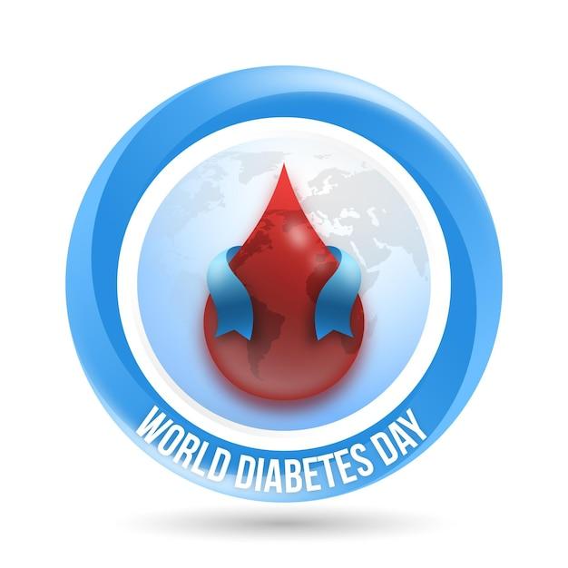 Realistische welt diabetes tag blut und band Kostenlosen Vektoren