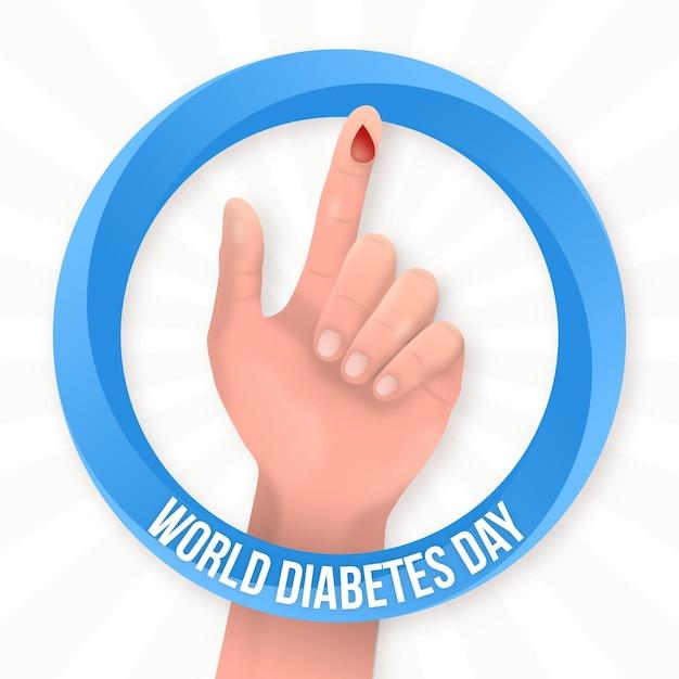 Realistische weltdiabetestageshand mit blutstropfen Kostenlosen Vektoren