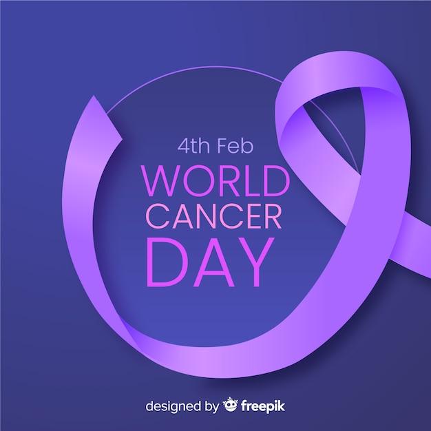 Realistische weltkrebs-tageshintergrund Kostenlosen Vektoren