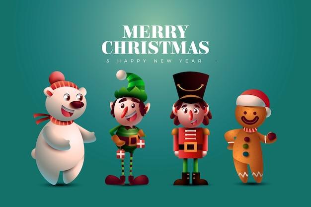 Realistische werbung zeichentrickfiguren weihnachten Premium Vektoren
