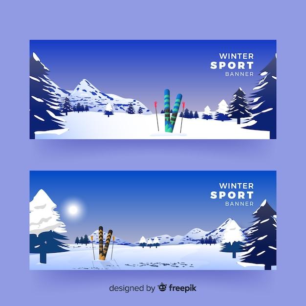 Realistische wintersport-banner Kostenlosen Vektoren