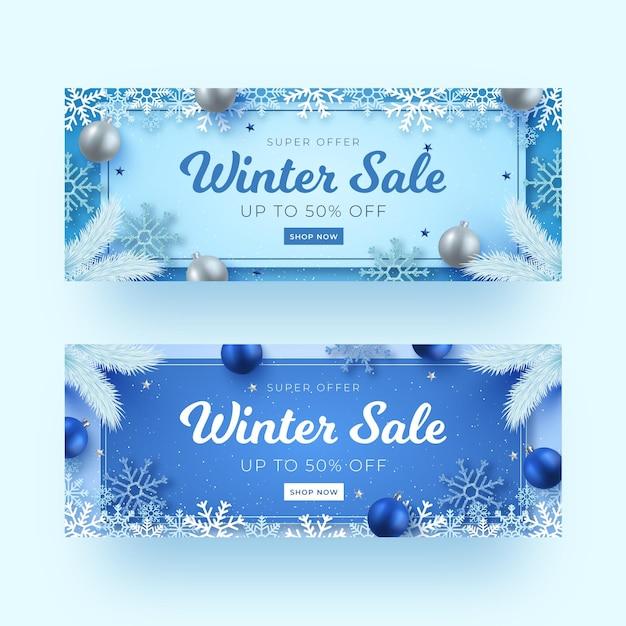 Realistische winterverkaufsbanner Kostenlosen Vektoren