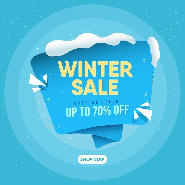 Realistische winterverkaufskonzeptvorlage. Premium Vektoren