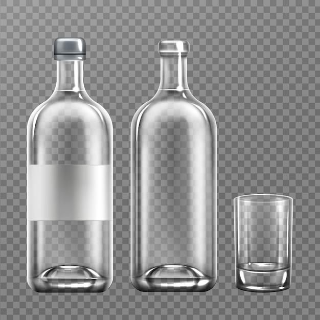 Realistische wodka-glasflasche mit glas Kostenlosen Vektoren
