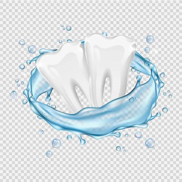 Realistische zähne. saubere weiße zähne und wasserspritzer auf transparentem hintergrund Premium Vektoren