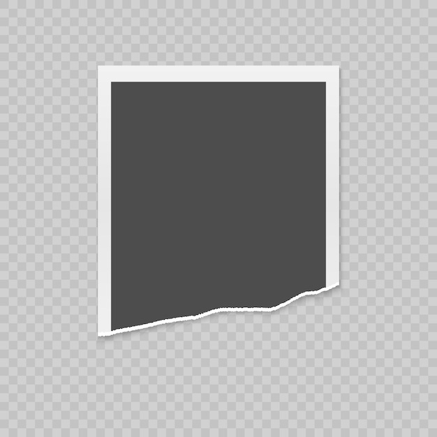 Realistische zerrissene fotokarte mit zerrissenen kanten Premium Vektoren