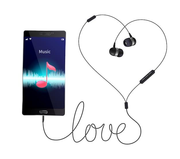 Realistische zusammensetzung der kopfhörerkopfhörer mit verdrahteten in-ohr-telefonen schloss an smartphone mit musikspieler-anwendungsillustration an Kostenlosen Vektoren