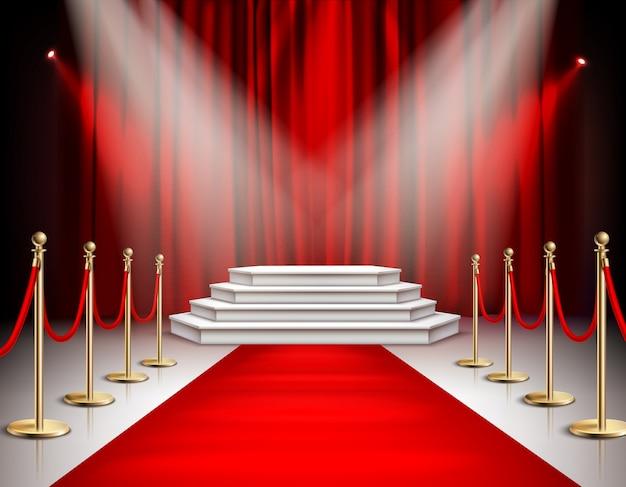 Realistische zusammensetzung des ereignisses der berühmtheiten des roten teppichs mit weißem treppenpodium strahlt karminrote satinvorhang-hintergrundillustration an Kostenlosen Vektoren