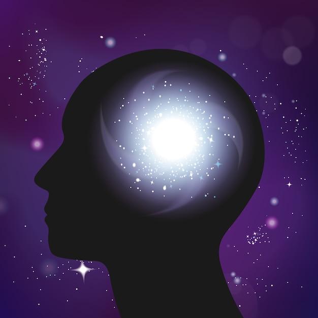 Realistische zusammensetzung des galaxienpsychologiekonzepts Kostenlosen Vektoren