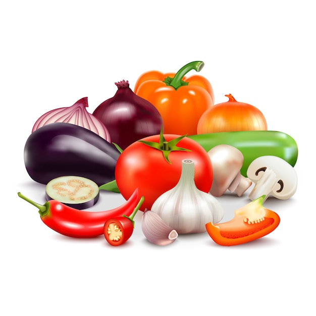 Realistische zusammensetzung des gemüses auf weißem hintergrund mit der aubergine der tomatenzwiebel süß und der pfeffer Kostenlosen Vektoren