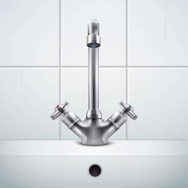 Realistische zusammensetzung des metallhahns mit bildern der badezimmerwand bedeckt mit weißen fliesen und wanne Kostenlosen Vektoren