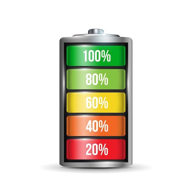 Realistischer alkali-batteriesatz. Premium Vektoren