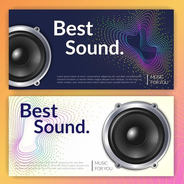 Realistischer audiosystemsatz horizontaler banner Kostenlosen Vektoren