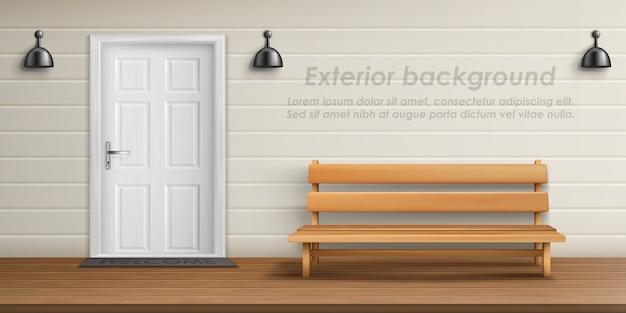 Realistischer außenhintergrund mit verandafassade. Kostenlosen Vektoren