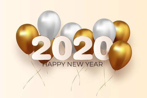 Realistischer ballonhintergrund des neuen jahres 2020 Kostenlosen Vektoren