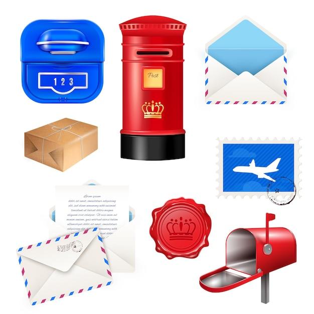 Realistischer beitragsmailbox-briefsatz mit lokalisierten verschiedenen paketpostpaketkästen und -umschlägen Kostenlosen Vektoren