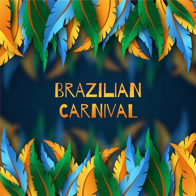 Realistischer brasilianischer karneval mit federthema Kostenlosen Vektoren