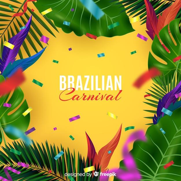 Realistischer brasilianischer karnevalshintergrund Kostenlosen Vektoren