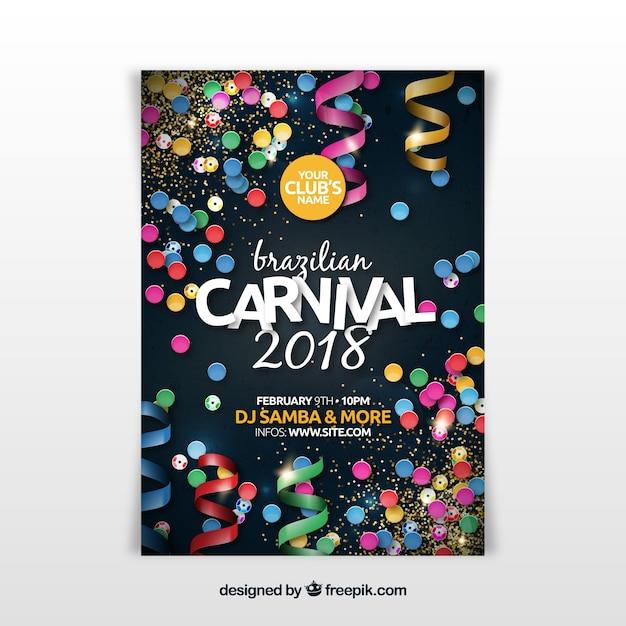 Realistischer brasilianischer Karnevalspartyflieger / -plakat Kostenlose Vektoren