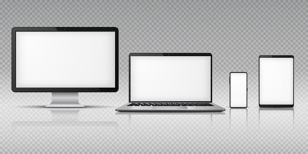 Realistischer computer laptop smartphone. tablet-gadget, pc-laptop-mobilgeräte. bildschirmanzeigevorlage Premium Vektoren