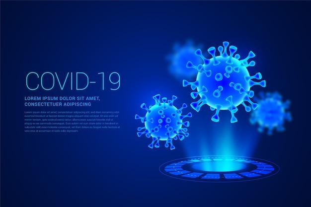 Realistischer coronavirus-hologrammhintergrund Premium Vektoren