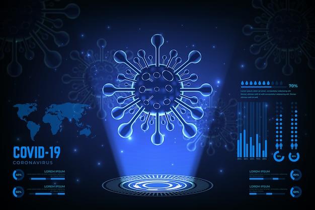 Realistischer coronavirus-hologrammhintergrund Kostenlosen Vektoren