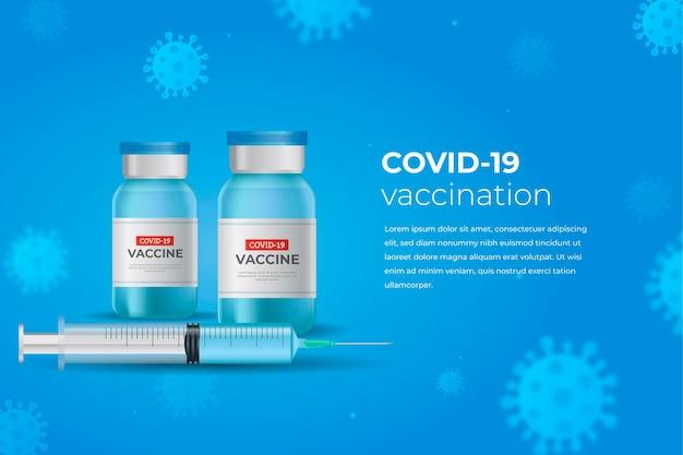 Realistischer coronavirus-impfstoffhintergrund mit flaschen und spritze Kostenlosen Vektoren