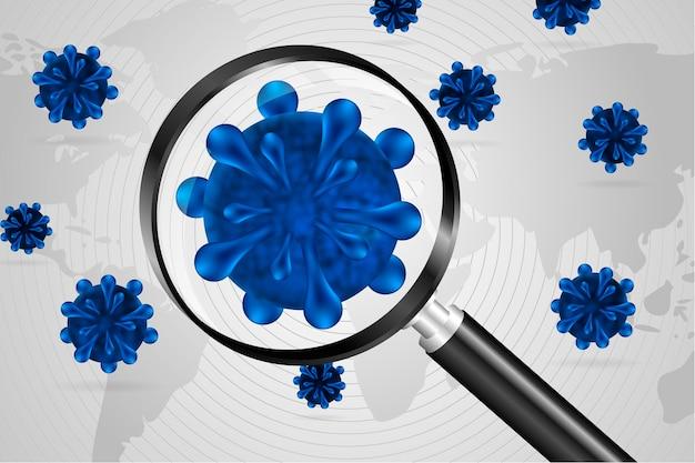 Realistischer coronavirus-zellblick durch einen lupenhintergrund Kostenlosen Vektoren