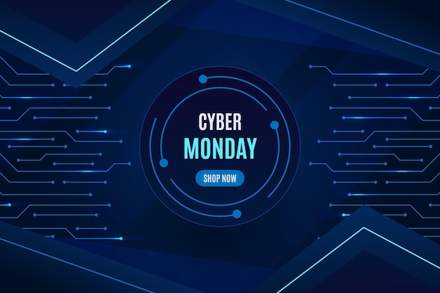 Realistischer cyber-montag-hintergrund Kostenlosen Vektoren