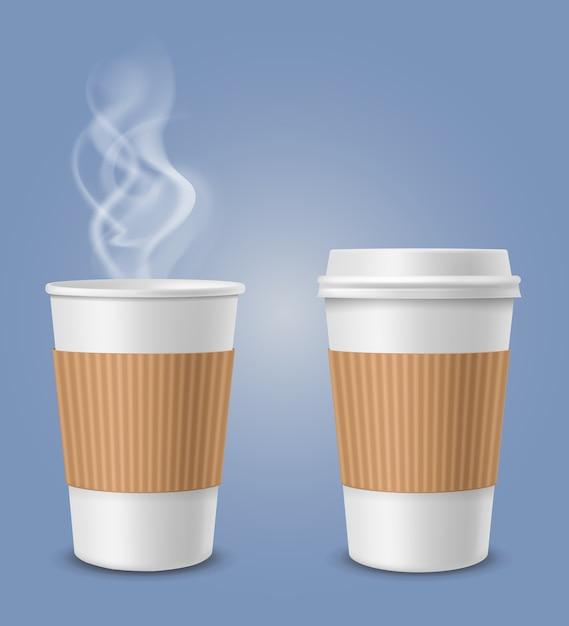 Realistischer dampf in der kaffeetasse Premium Vektoren
