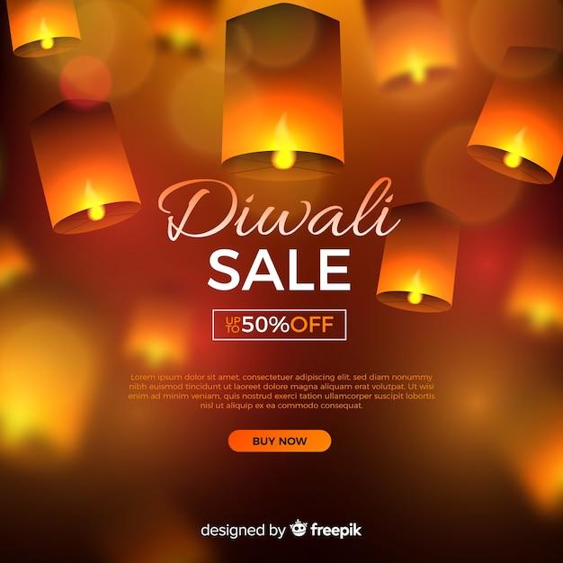 Realistischer diwali verkauf mit angebot Kostenlosen Vektoren