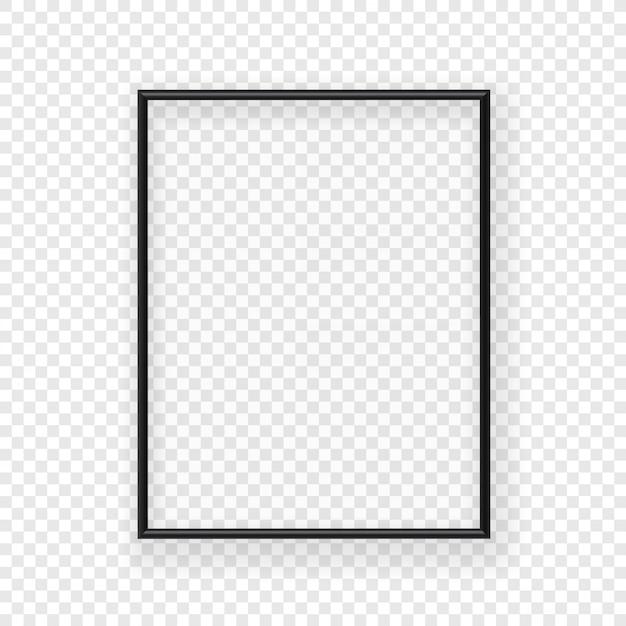 Realistischer dünner schwarzer bilderrahmen an einer wand. vektorabbildung getrennt auf transparentem hintergrund Premium Vektoren