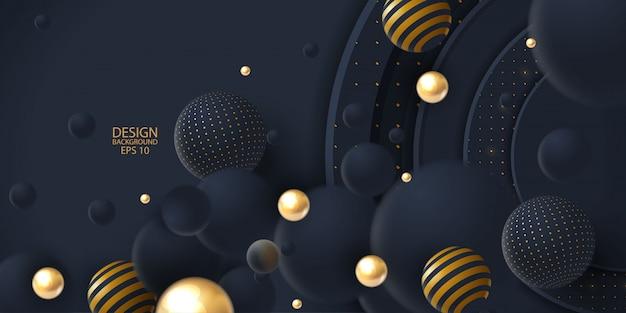 Realistischer dunkler abstrakter deckungshintergrund mit kugel 3d Premium Vektoren