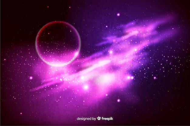 Realistischer dunkler abstrakter galaxiehintergrund Kostenlosen Vektoren
