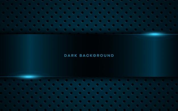 Realistischer dunkler hintergrund mit blauen glänzenden lichtern. Premium Vektoren