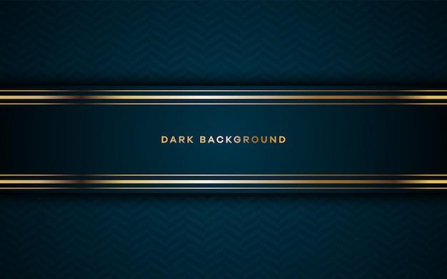 Realistischer dunkler hintergrund mit goldenen details. Premium Vektoren