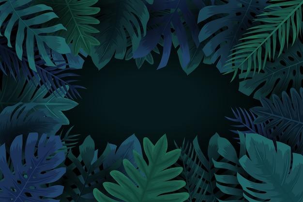 Realistischer dunkler tropischer blatthintergrund mit kopienraum Kostenlosen Vektoren