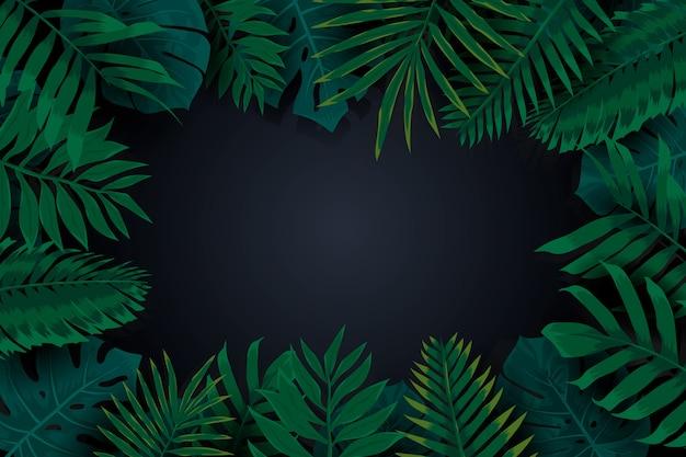 Realistischer dunkler tropischer blattrahmenhintergrund Kostenlosen Vektoren